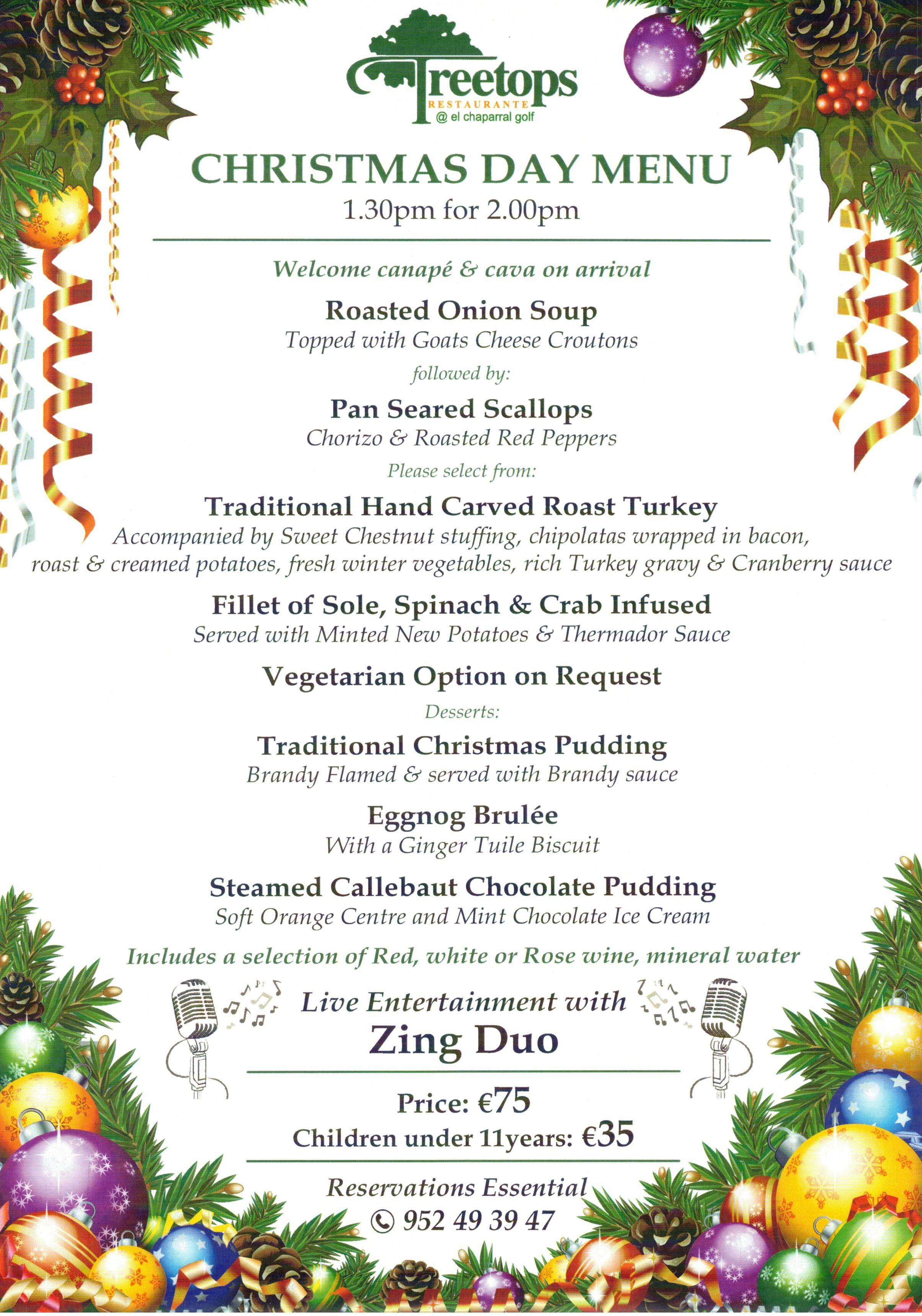 CHRISTMAS DAY MENU 2018, CHAPARRAL GOLF CLUB, MIJAS, COSTA DEL SOL