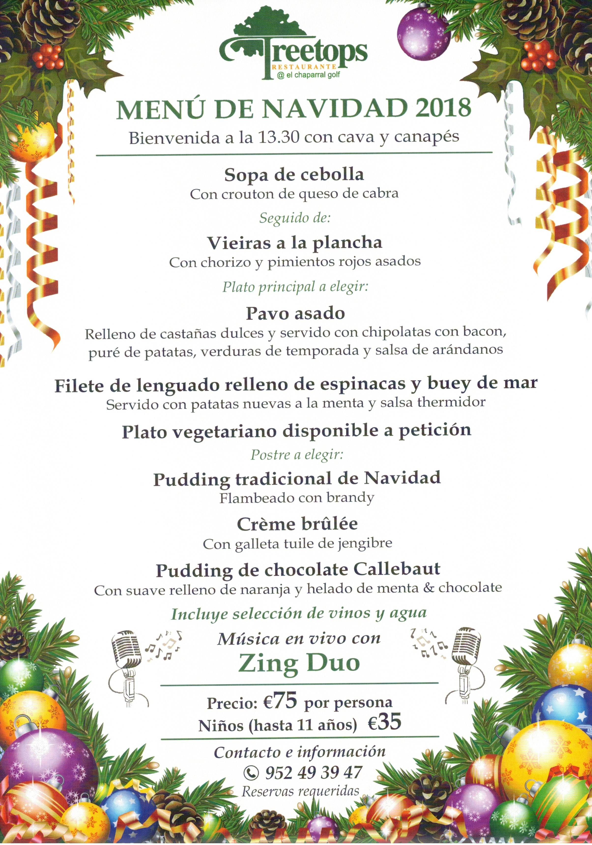MENU NAVIDAD 2018 CHAPARRAL GOLF CLUB, MIJAS, COSTA DEL SOL