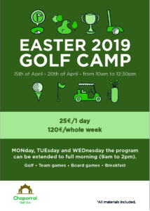 Easter Week Golf Camp 2019 Chaparral Golf Club, Mijas, Costa del sol