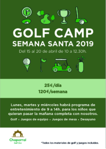 Golf Camp Semana Santa 2019 Chaparral Golf Club, Mijas, Costa del sol